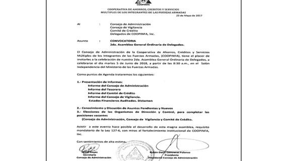 Invitación a los Delegados de COOPINFA, asignados por el MIDE, ERD, FARD, ARD para la celebración de la 2da Asamblea Anual Ordinaria de Delegados